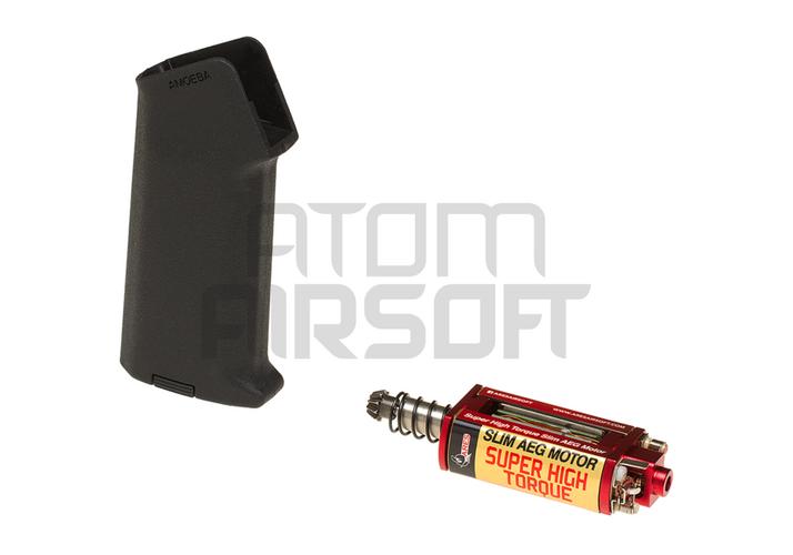 Ares Super High Torque Slim AEG moottori Amoeba Slim M4 pistoolikahvalla – musta